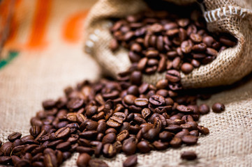 fresh bio aromatic coffee beans. imported in vintage cloth