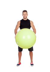 Attractive men with a big ball of pilates