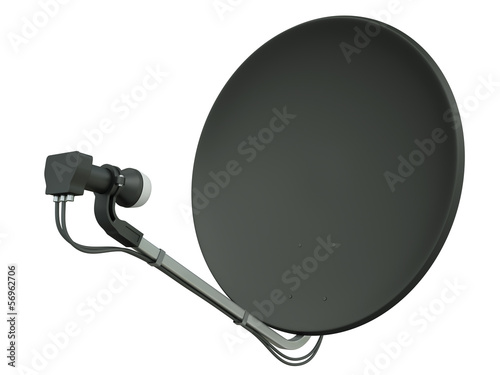 Black satellite dish, 3D render