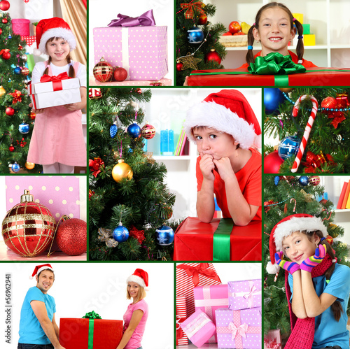 Collage of celebrating Christmas at home