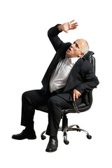 scared businessman looking up