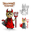 Halloween monsters scary cartoon devil man EPS10 file.
