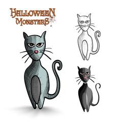 Halloween monsters scary cartoon black cat EPS10 file.