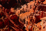 Red Navajo sandstone pinnacles and cliffs