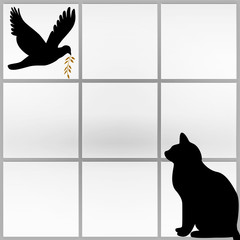 Silhouette of a black cat watching a dove carrying a twig