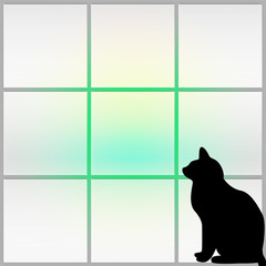 Silhouette of a black cat staring out of a window - abstract