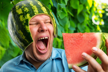 Man in a helmet from a watermelon