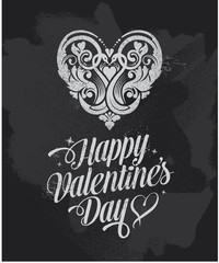 Valentines day greeting card on a black textured background