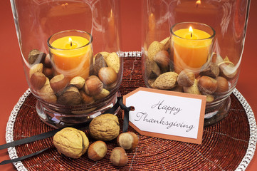 Happy Thanksgiving table setting centerpiece
