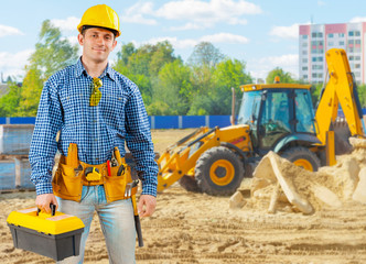 builder on construction site