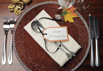 Formal Thanksgiving dinner table place setting