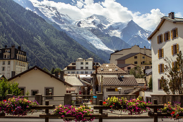 View to Mont Blanc and glacier from Chamonix