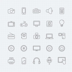 device and multimedia vector thin line symbol icon