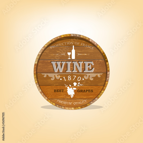 Wooden casks with grapes wine.Vector sticker