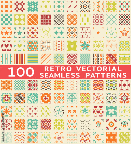 Retro different vector seamless patterns (with swatch).