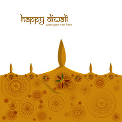 Beautiful colorful greeting card diwali diya background vector