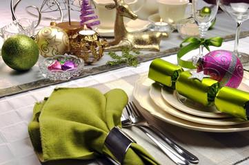Lime green and pink modern Christmas table setting