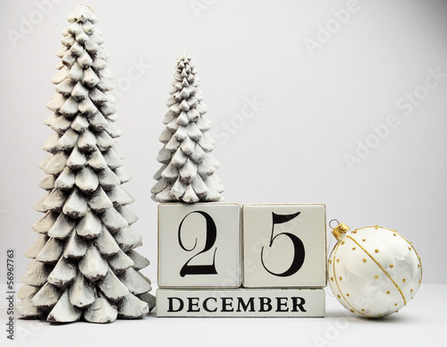 White theme Save the Date calendar for Christmas Day