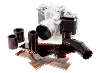 analog vintage SLR camera and color negative films