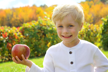 Cute Young Child at Apple Orchard