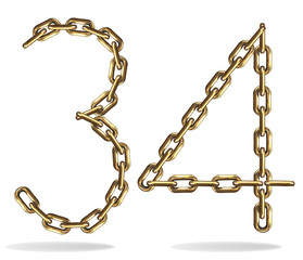 Golden five and six numbers, made with chains