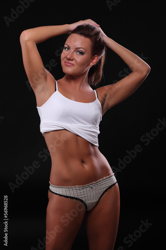 sexy athletic girl in underwear