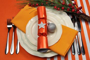 Orange theme Christmas table place setting