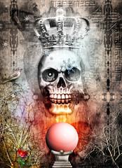 King skull and crystal ball