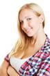 Lächelnde junge attraktive Frau