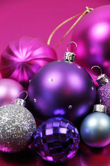 Pink and purple Christmas bauble decorations