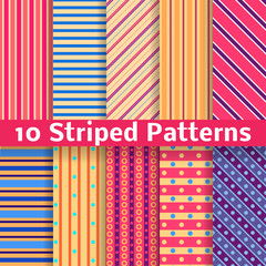 Different striped vector seamless patterns (tiling).