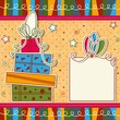 Christmas card with gift boxes, vector