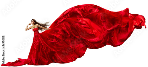 Woman in red dress, fabric waving, beautiful flying long tail