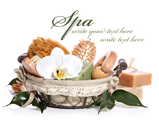Spa bath kit or sauna toiletries set in basket with orchid