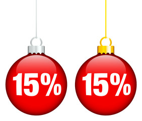 "Christmas Balls Sale ""15%"" Red"