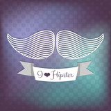 Hipster decorative background with mustache