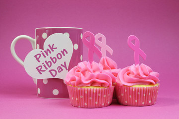 Pink cupcakes with Pink Ribbon symbols and polka dot coffee mug