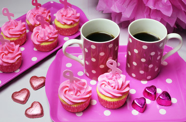 Pink Ribbon charity cupcakes and coffee morning tea.
