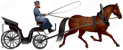 Horse cart, izvozchik, coachman on droshky