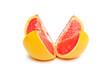 cut grapefruit isolated on white