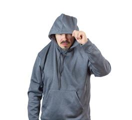 Adult man in hoody