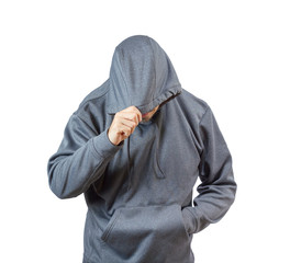 Adult man in hoody