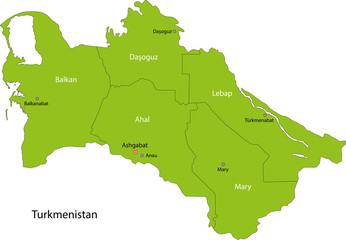 Green Turkmenistan map