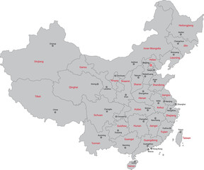 Gray China map