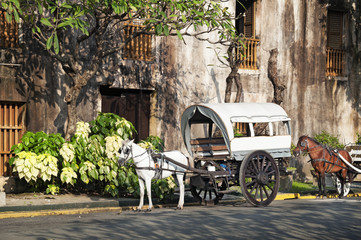 Horse Drawn Calesas waiting for tourists  in Manila.