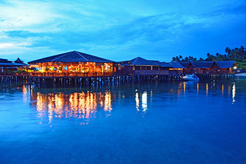 Stilt houses in twilight, Sipadan Mabul  - Malaysia