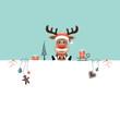Background Christmas Reindeer Glasses & Symbols Retro