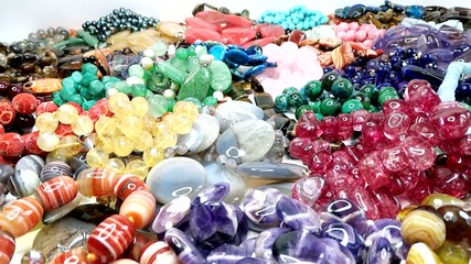 semigem necklaces and beads jewelery as fashion background