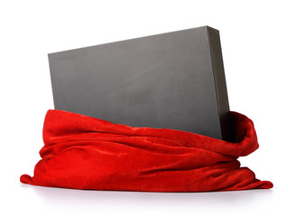Santa Claus red bag with gift black box