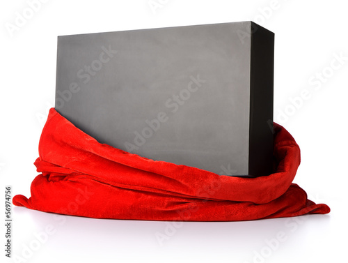 Santa Claus red bag with gift black box